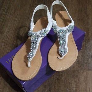 Ladies, Madden Girl, white Rhinestone sandals